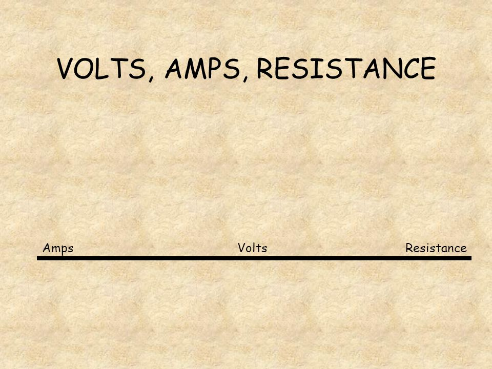 V=I·R VOLTS= AMPERES X RESISTANCE What do the words mean Volts- the amount of energy that the charged particles have.