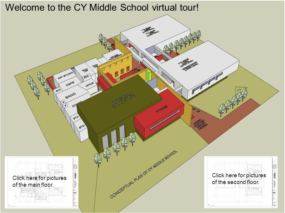 Welcome to the CY Middle School virtual tour! Click here for pictures of the main floor. Click here for pictures of the second floor.