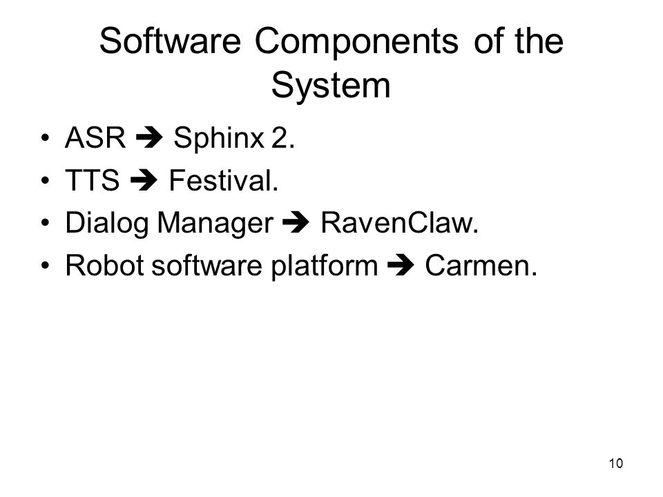 10 Software Components of the System ASR  Sphinx 2.