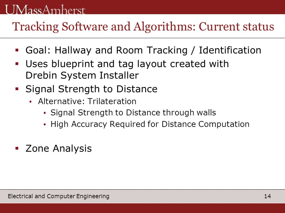 14 Electrical and Computer Engineering Tracking Software and Algorithms: Current status  Goal: Hallway and Room Tracking / Identification  Uses blueprint and tag layout created with Drebin System Installer  Signal Strength to Distance Alternative: Trilateration Signal Strength to Distance through walls High Accuracy Required for Distance Computation  Zone Analysis