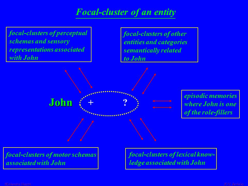  Lokendra Shastri ICSI, Berkeley Focal-cluster of an entity John + ? focal-clusters of motor schemas associated with John focal-clusters of lexical k