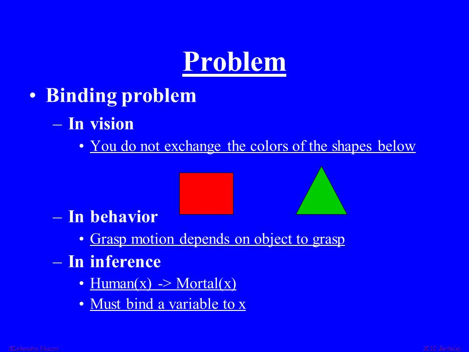 Problem Binding problem –In vision You do not exchange the colors of the shapes below –In behavior Grasp motion depends on object to grasp –In inferen