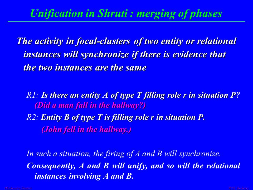 Lokendra Shastri ICSI, Berkeley Unification in Shruti : merging of phases The activity in focal-clusters of two entity or relational instances will