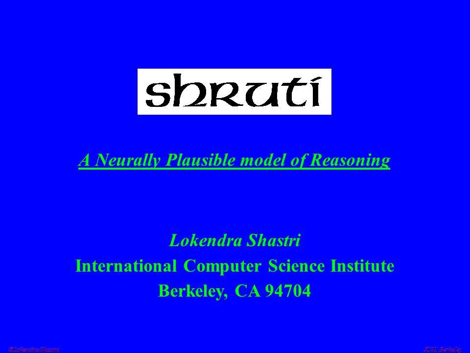  Lokendra Shastri ICSI, Berkeley Explaining away in ShrutiSLIP + ? FALL TRIP mediator mediator