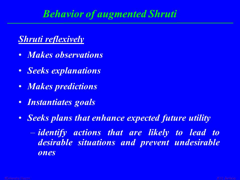  Lokendra Shastri ICSI, Berkeley Behavior of augmented Shruti Shruti reflexively Makes observations Seeks explanations Makes predictions Instantiates