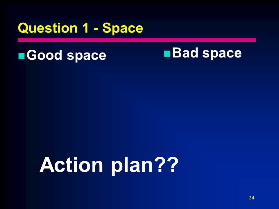 24 Question 1 - Space Good space Bad space Action plan