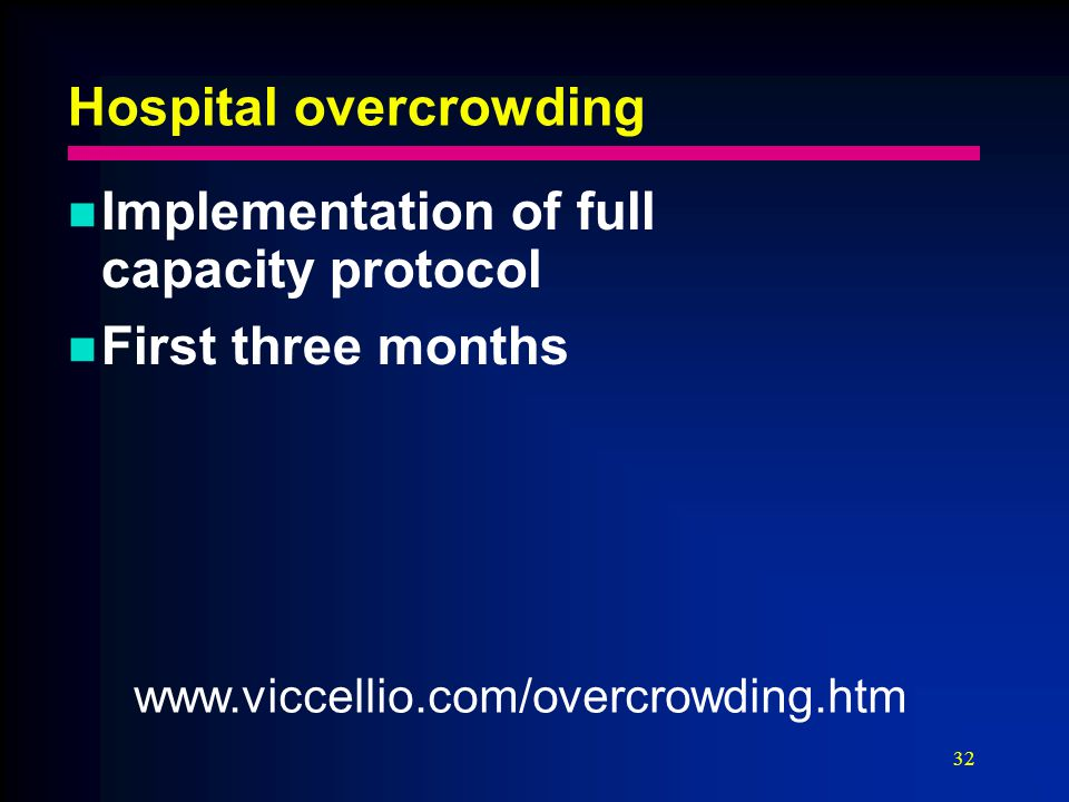 32 Hospital overcrowding Implementation of full capacity protocol First three months www.viccellio.com/overcrowding.htm