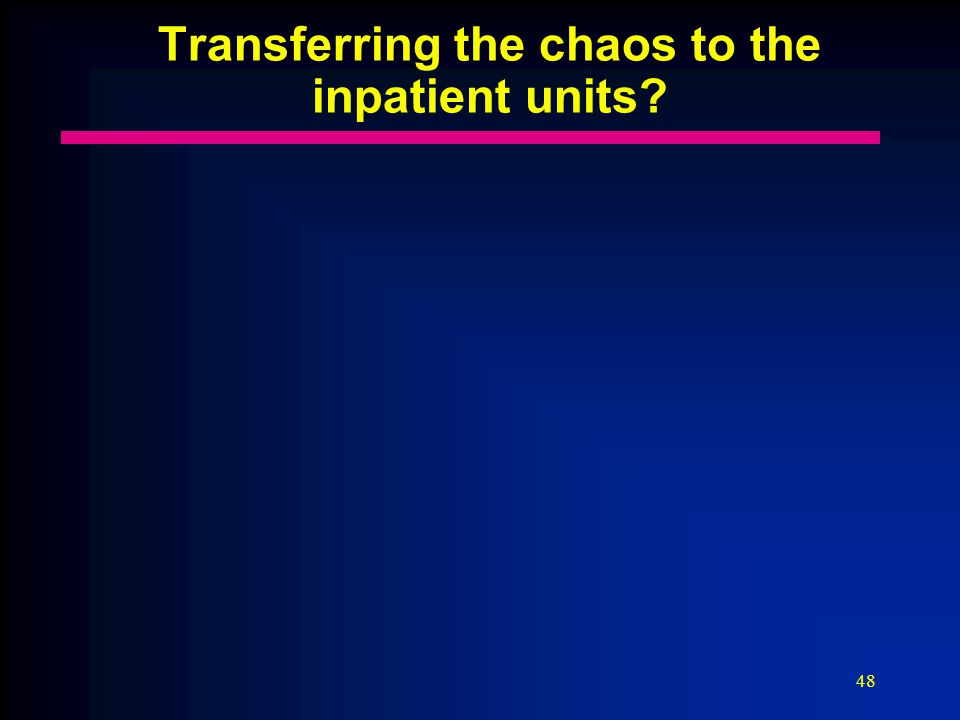 48 Transferring the chaos to the inpatient units