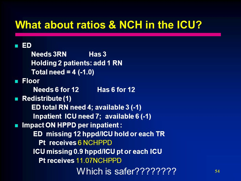 54 What about ratios & NCH in the ICU.