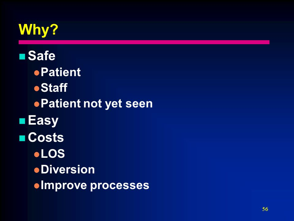 56 Why Safe Patient Staff Patient not yet seen Easy Costs LOS Diversion Improve processes