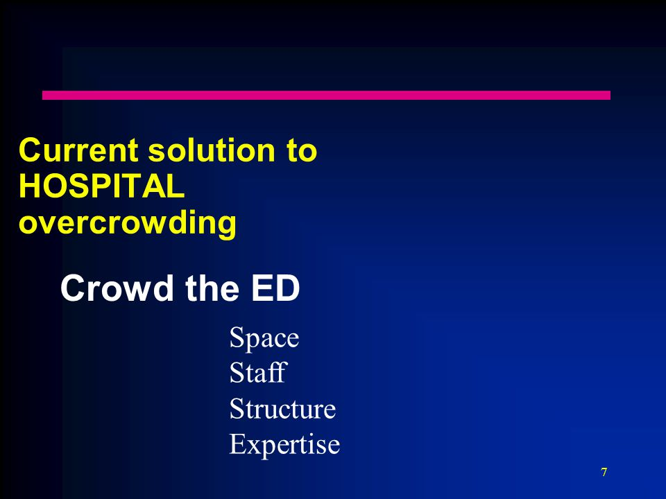 7 Current solution to HOSPITAL overcrowding Crowd the ED Space Staff Structure Expertise