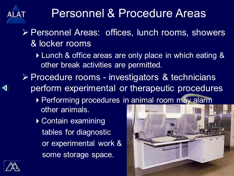  Personnel Areas: offices, lunch rooms, showers & locker rooms  Lunch & office areas are only place in which eating & other break activities are permitted.