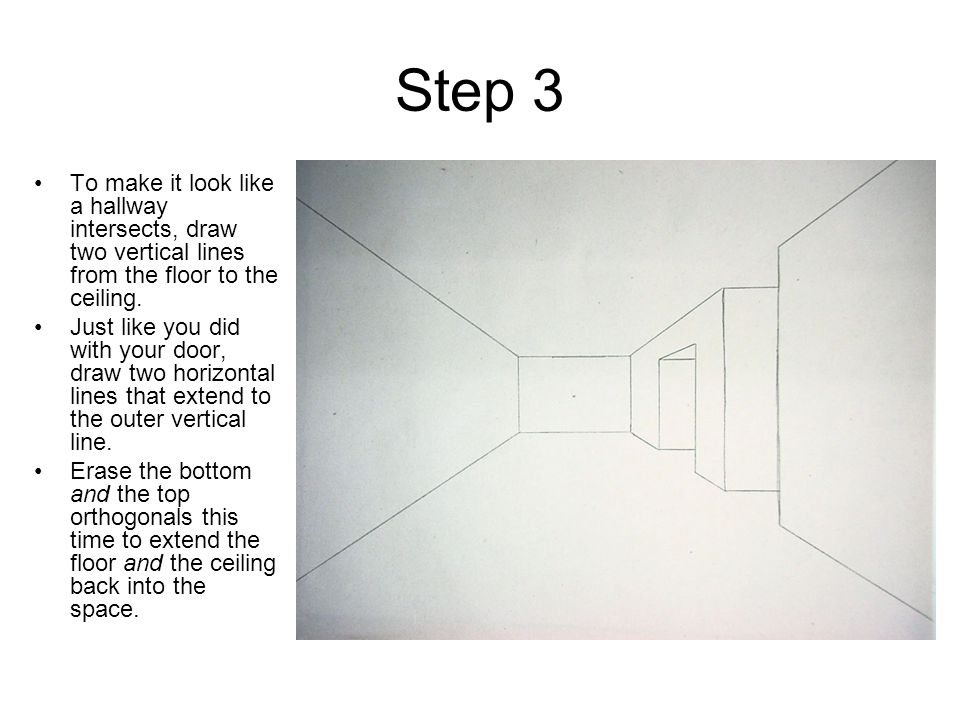 Step 3 To make it look like a hallway intersects, draw two vertical lines from the floor to the ceiling.