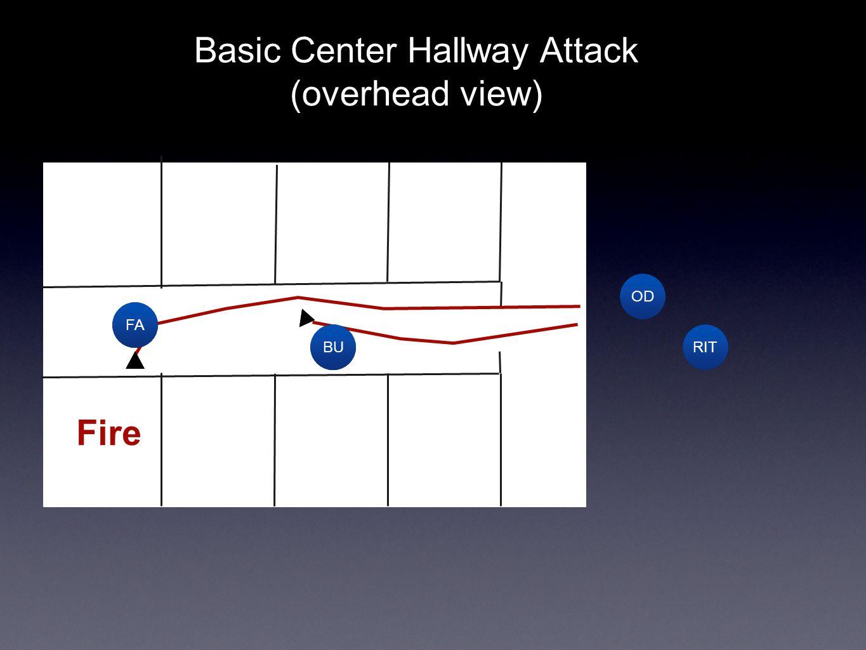 RIT OD FA BU Text Fire Basic Center Hallway Attack (overhead view)