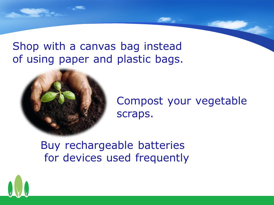 Shop with a canvas bag instead of using paper and plastic bags.