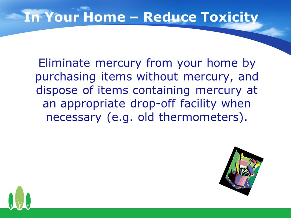 In Your Home – Reduce Toxicity Eliminate mercury from your home by purchasing items without mercury, and dispose of items containing mercury at an appropriate drop-off facility when necessary (e.g.