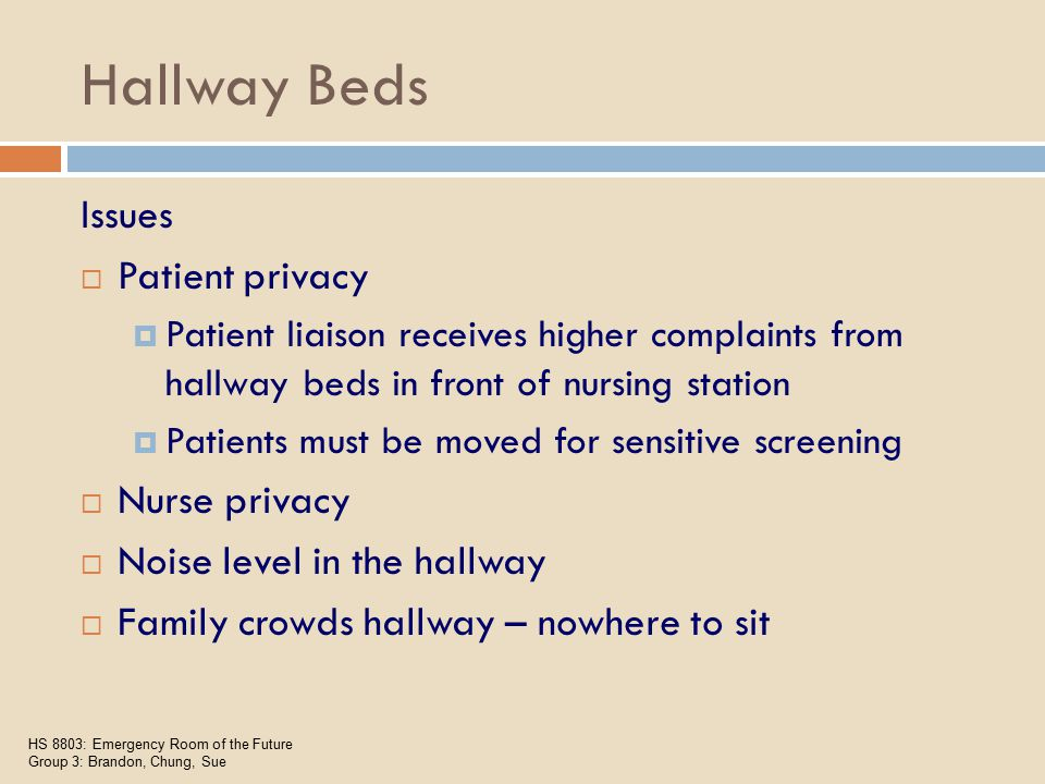 Hallway Beds Issues  Patient privacy  Patient liaison receives higher complaints from hallway beds in front of nursing station  Patients must be moved for sensitive screening  Nurse privacy  Noise level in the hallway  Family crowds hallway – nowhere to sit HS 8803: Emergency Room of the Future Group 3: Brandon, Chung, Sue