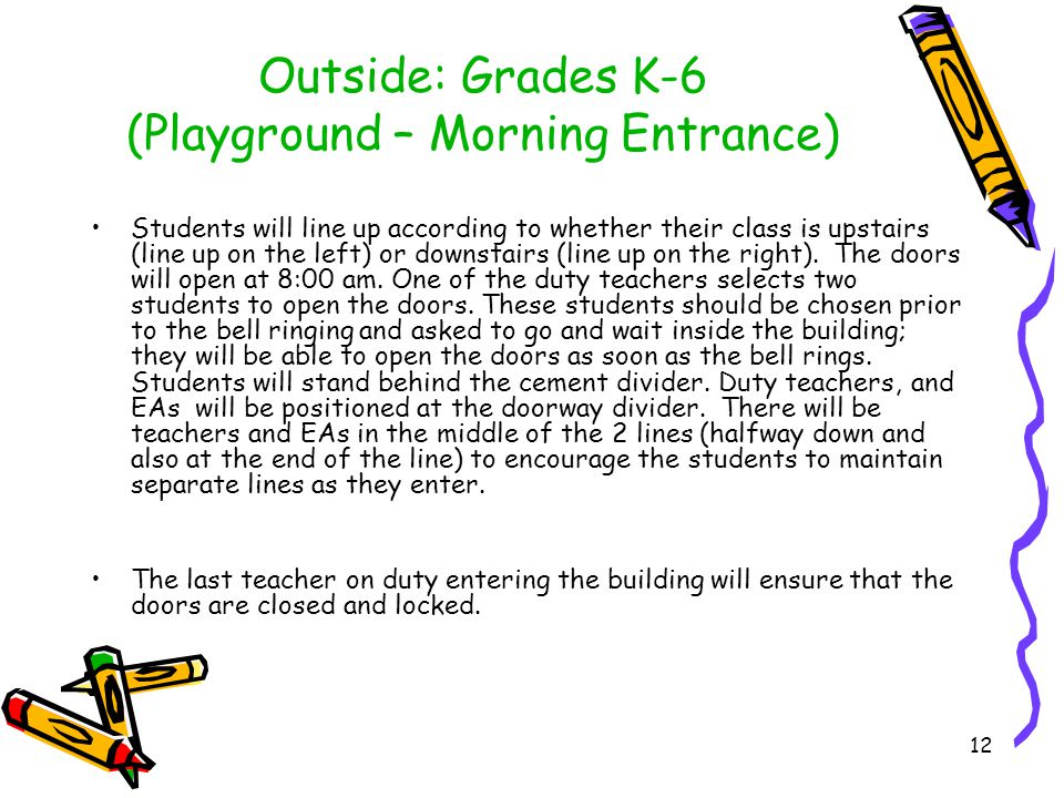 Outside: Grades K-6 (Playground – Morning Entrance) Students will line up according to whether their class is upstairs (line up on the left) or downstairs (line up on the right).