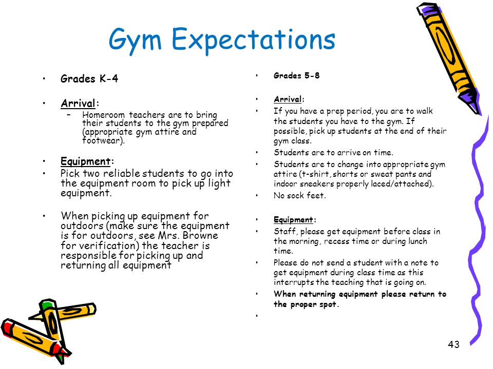Gym Expectations Grades K-4 Arrival: –Homeroom teachers are to bring their students to the gym prepared (appropriate gym attire and footwear).