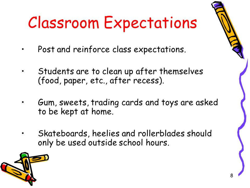 Classroom Expectations Post and reinforce class expectations.