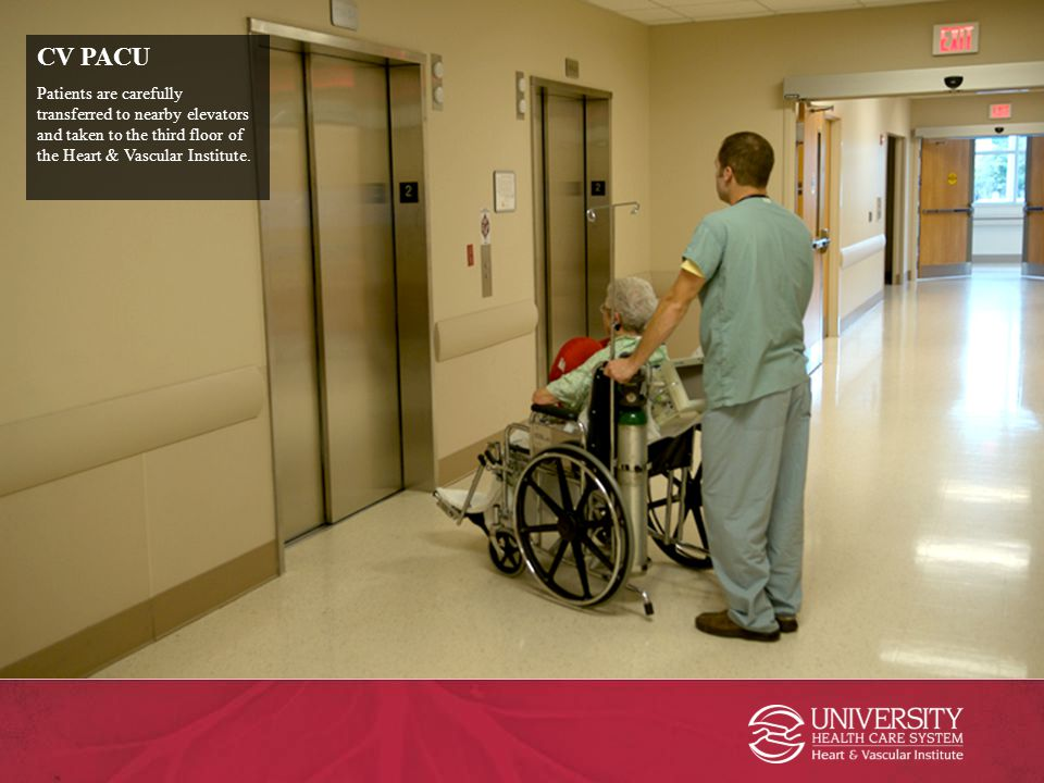 CV PACU Patients are carefully transferred to nearby elevators and taken to the third floor of the Heart & Vascular Institute.