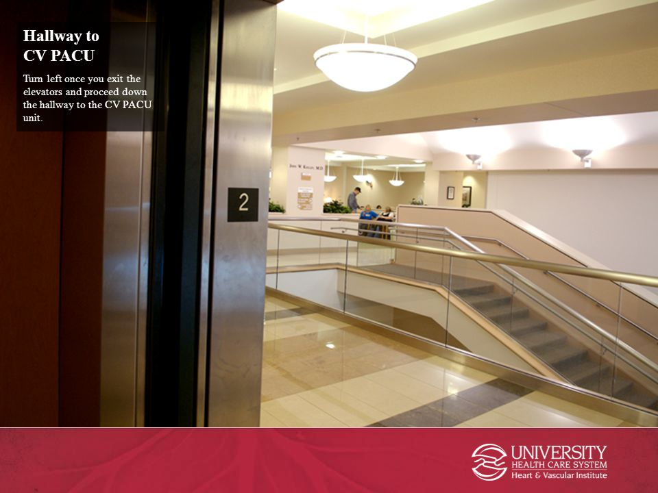 Hallway to CV PACU Turn left once you exit the elevators and proceed down the hallway to the CV PACU unit.