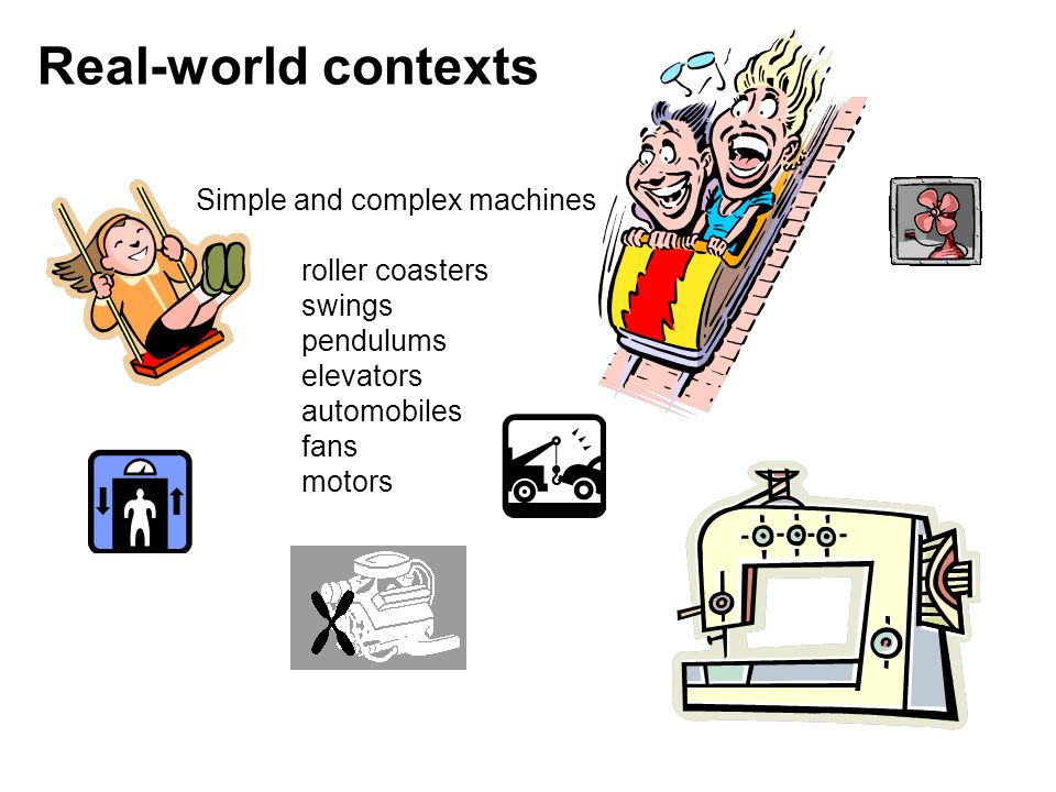 Simple and complex machines roller coasters swings pendulums elevators automobiles fans motors Real-world contexts