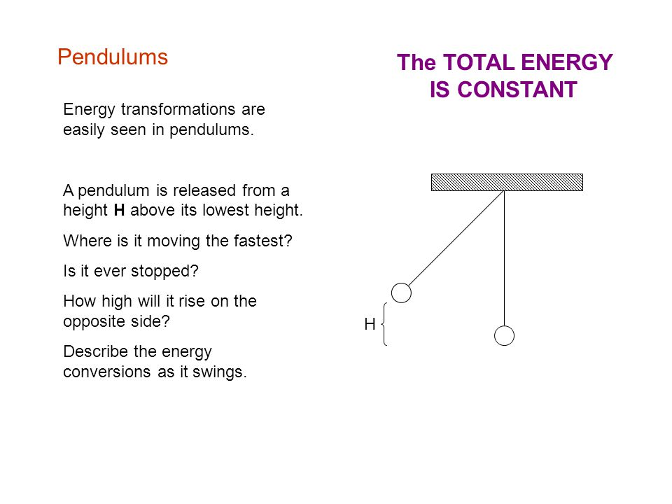 Pendulums H Energy transformations are easily seen in pendulums.