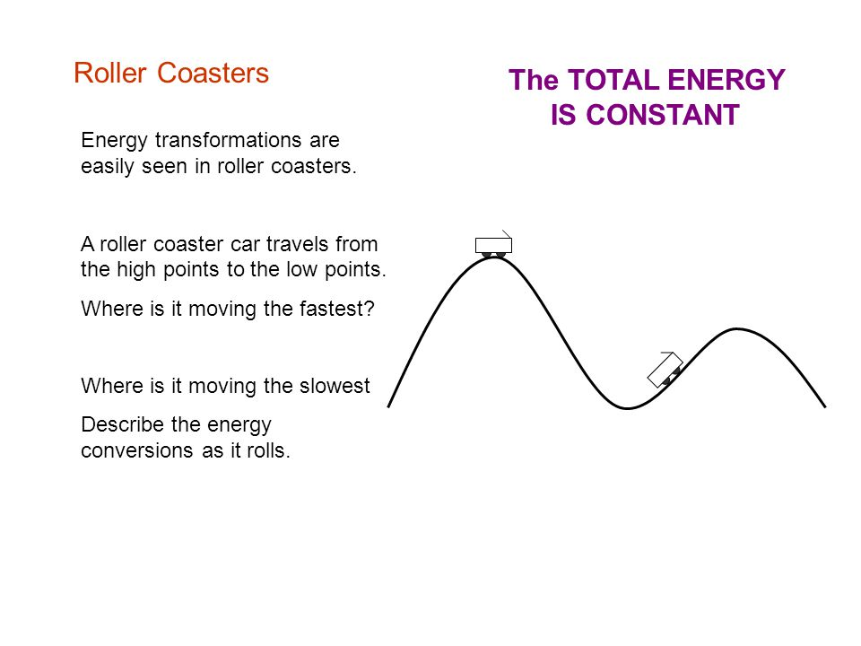 Roller Coasters Energy transformations are easily seen in roller coasters.