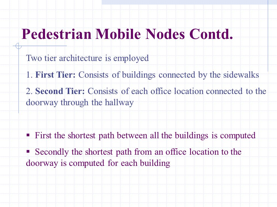 Pedestrian Mobile Nodes Contd. Two tier architecture is employed 1. First Tier: Consists of buildings connected by the sidewalks 2. Second Tier: Consi