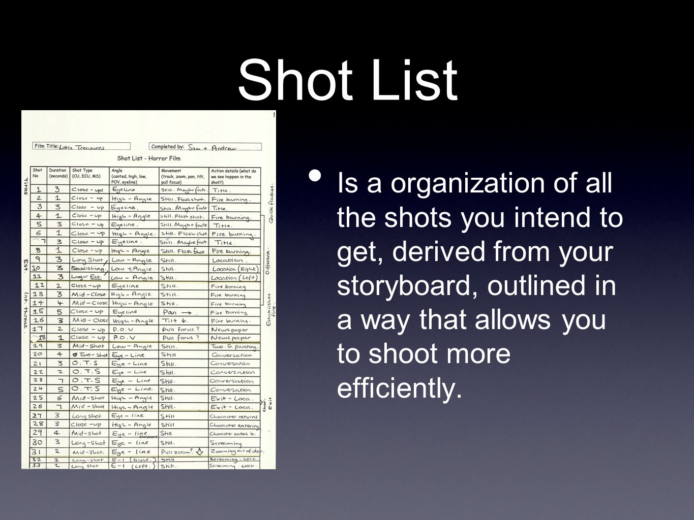 Shot List Is a organization of all the shots you intend to get, derived from your storyboard, outlined in a way that allows you to shoot more efficiently.