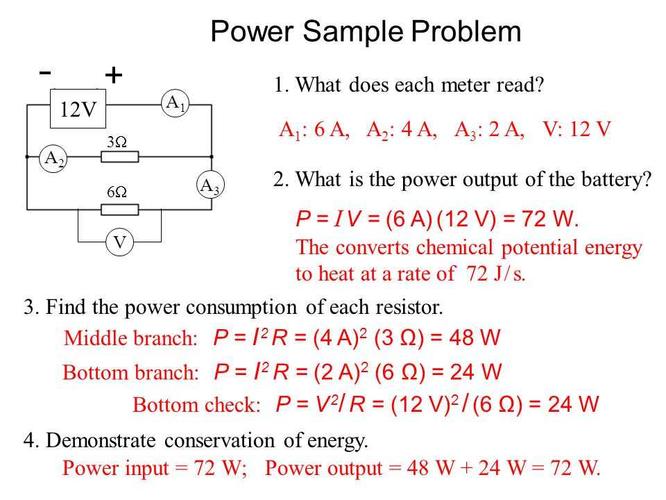 Power: Other Formulae P = I V = I ( I R ) = I 2 R or Using V = I R power can be written in two other ways: P = I V = ( V / R ) V = V 2 / R In summary,
