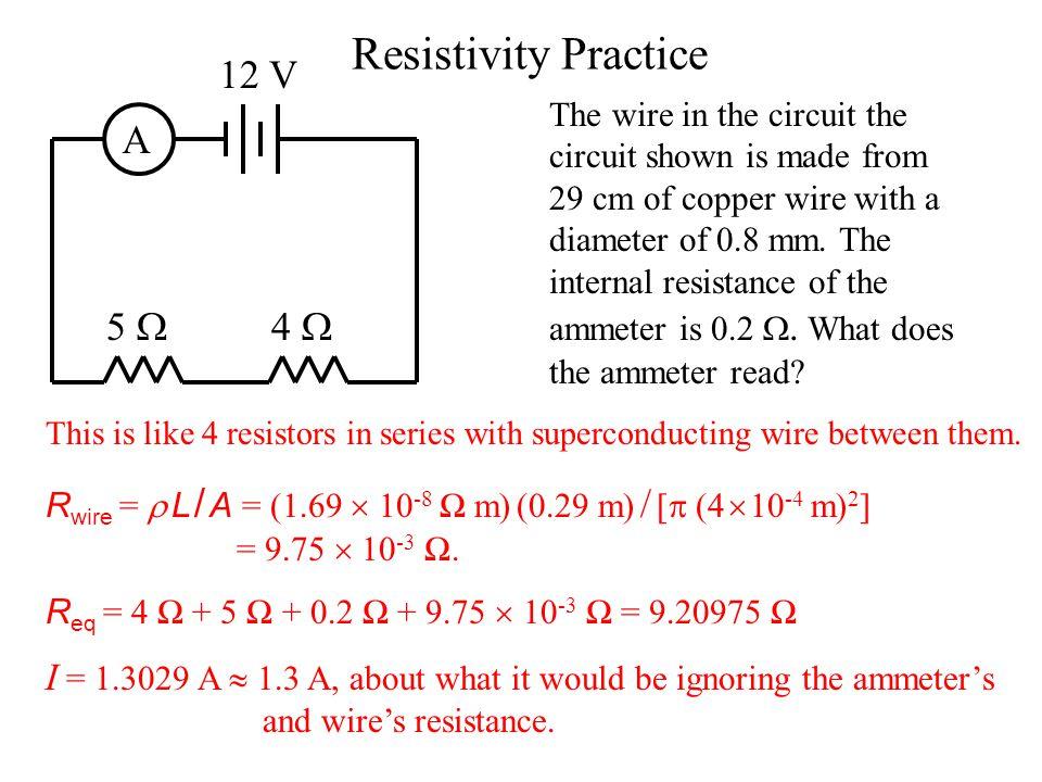 Resistivity: SI Units The SI unit for resistivity is an ohm-meter: Ω m, as can be deduced from the formula: R =  L A Copper has a resistivity of 1.69  10 -8 Ω m.