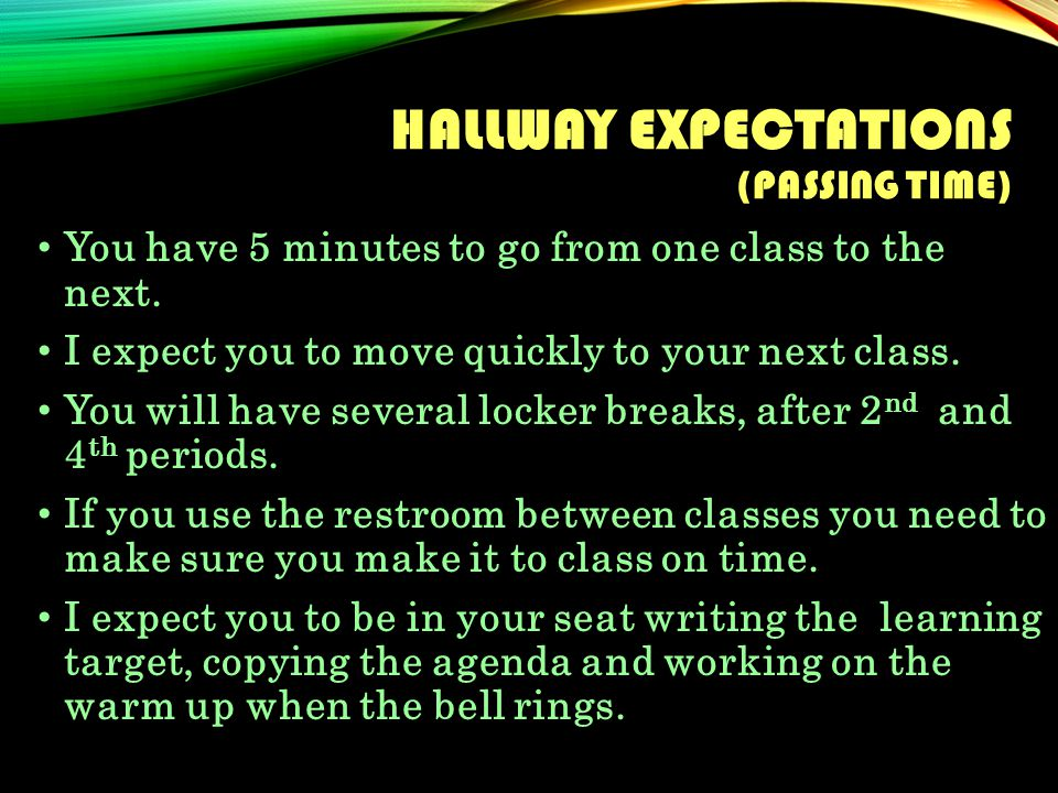 HALLWAY EXPECTATIONS (PASSING TIME) You have 5 minutes to go from one class to the next.