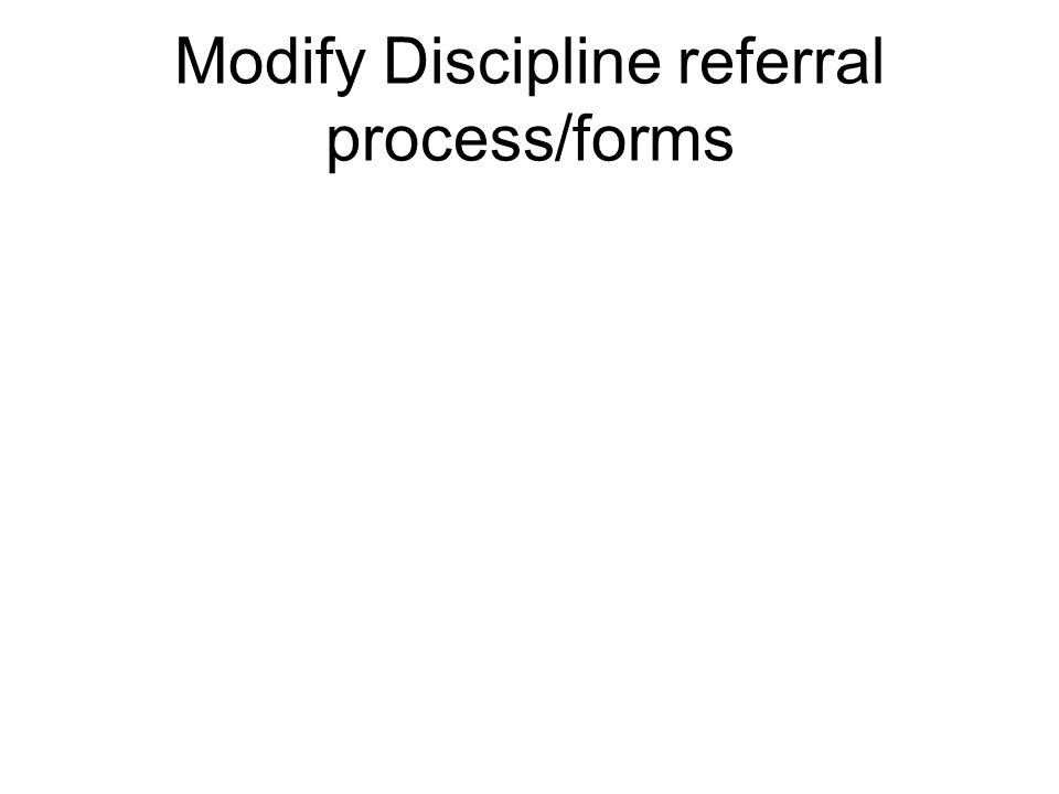 Modify Discipline referral process/forms