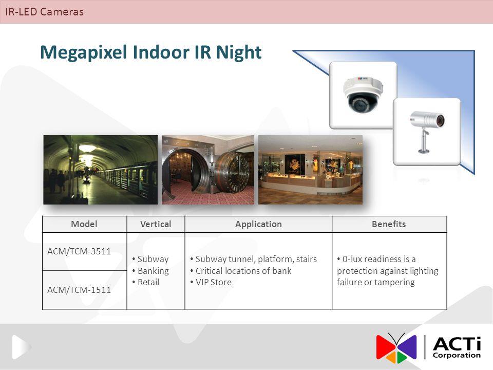 Megapixel Indoor IR Night ModelVerticalApplicationBenefits ACM/TCM-3511 Subway Banking Retail Subway tunnel, platform, stairs Critical locations of ba