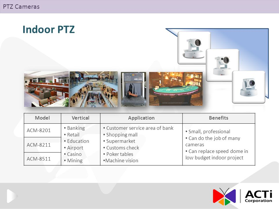 Indoor PTZ ModelVerticalApplicationBenefits ACM-8201 Banking Retail Education Airport Casino Mining Customer service area of bank Shopping mall Supermarket Customs check Poker tables Machine vision Small, professional Can do the job of many cameras Can replace speed dome in low budget indoor project ACM-8211 ACM-8511 PTZ Cameras