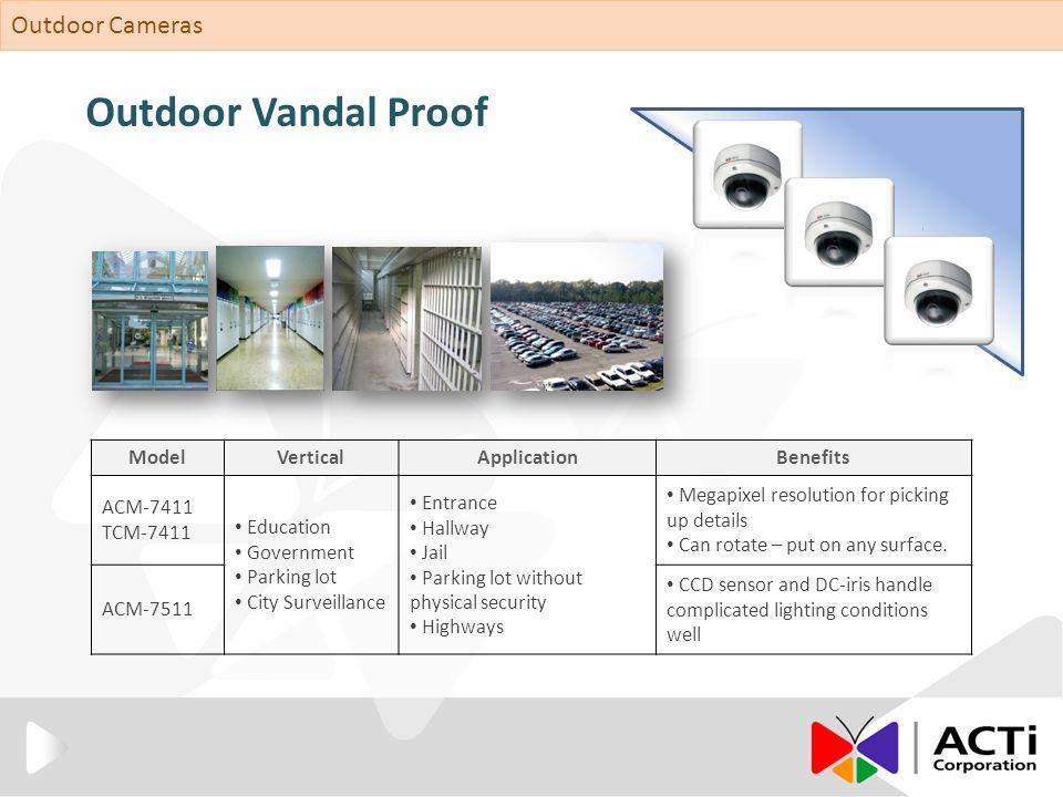 Outdoor Vandal Proof ModelVerticalApplicationBenefits ACM-7411 TCM-7411 Education Government Parking lot City Surveillance Entrance Hallway Jail Parki