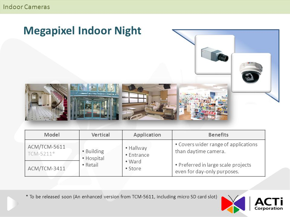 Megapixel Indoor Night ModelVerticalApplicationBenefits ACM/TCM-5611 TCM-5211* Building Hospital Retail Hallway Entrance Ward Store Covers wider range of applications than daytime camera.