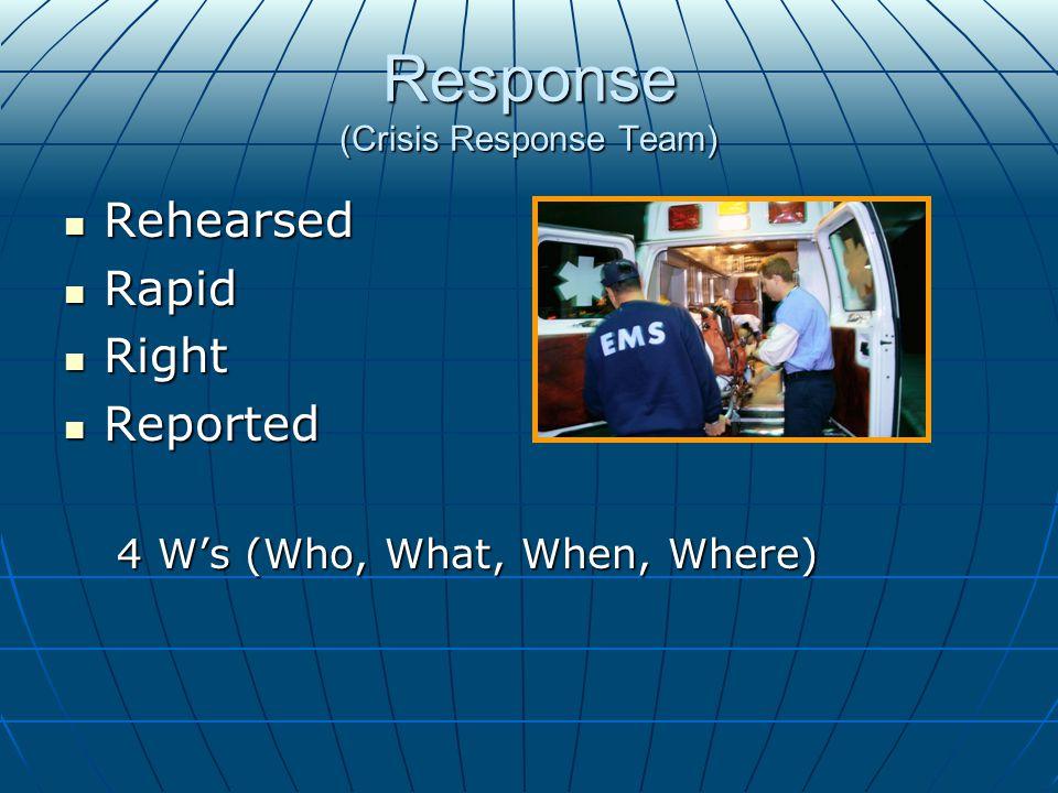 Response (Crisis Response Team) Rehearsed Rehearsed Rapid Rapid Right Right Reported Reported 4 W's (Who, What, When, Where)