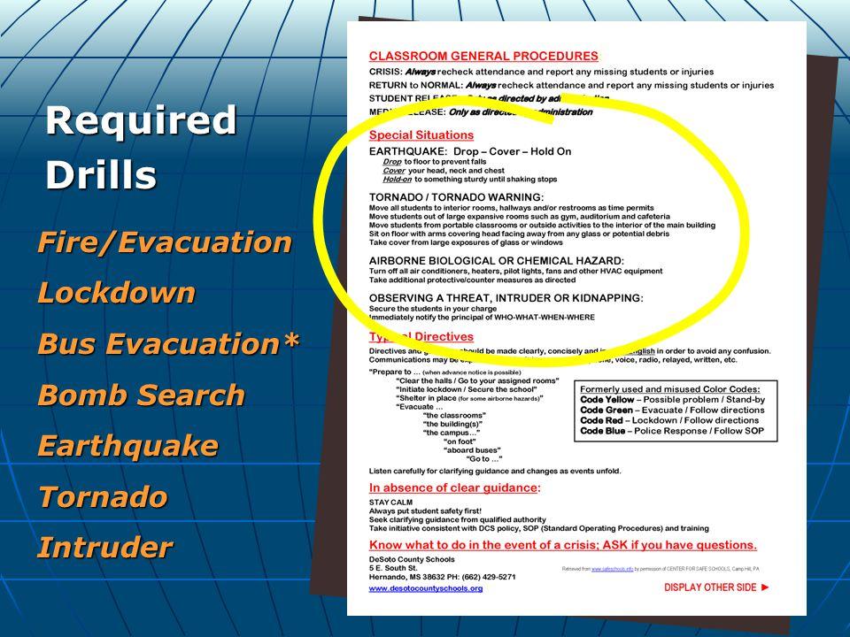 (Back) RequiredDrills Fire/EvacuationLockdown Bus Evacuation* Bomb Search EarthquakeTornadoIntruder