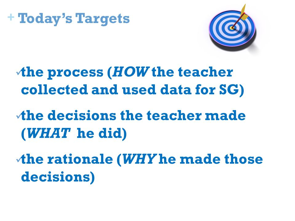 + Today's Targets the process (HOW the teacher collected and used data for SG) the decisions the teacher made (WHAT he did) the rationale (WHY he made those decisions)