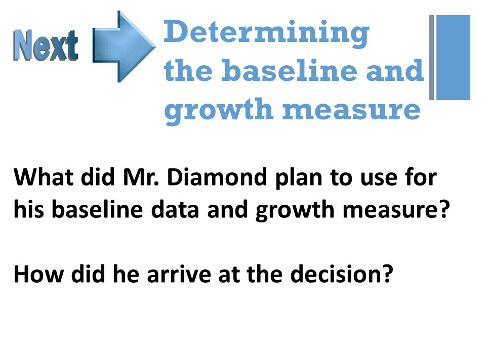 + Determining the baseline and growth measure What did Mr.