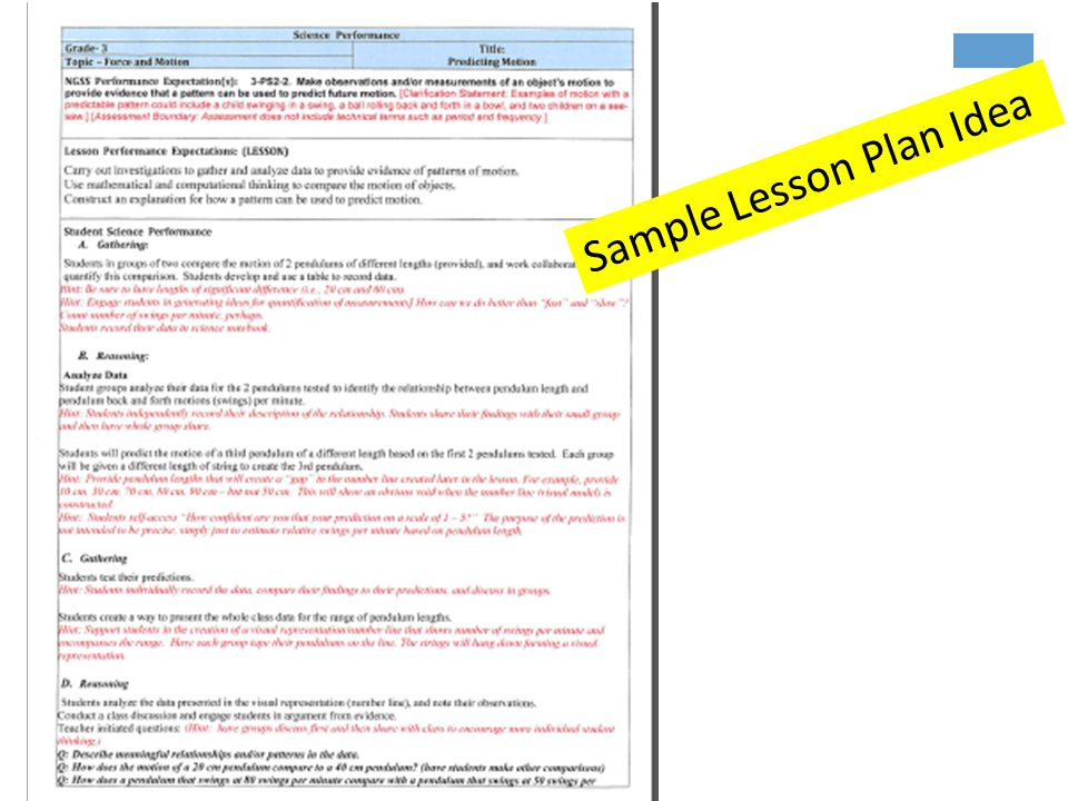 Sample Lesson Plan Idea