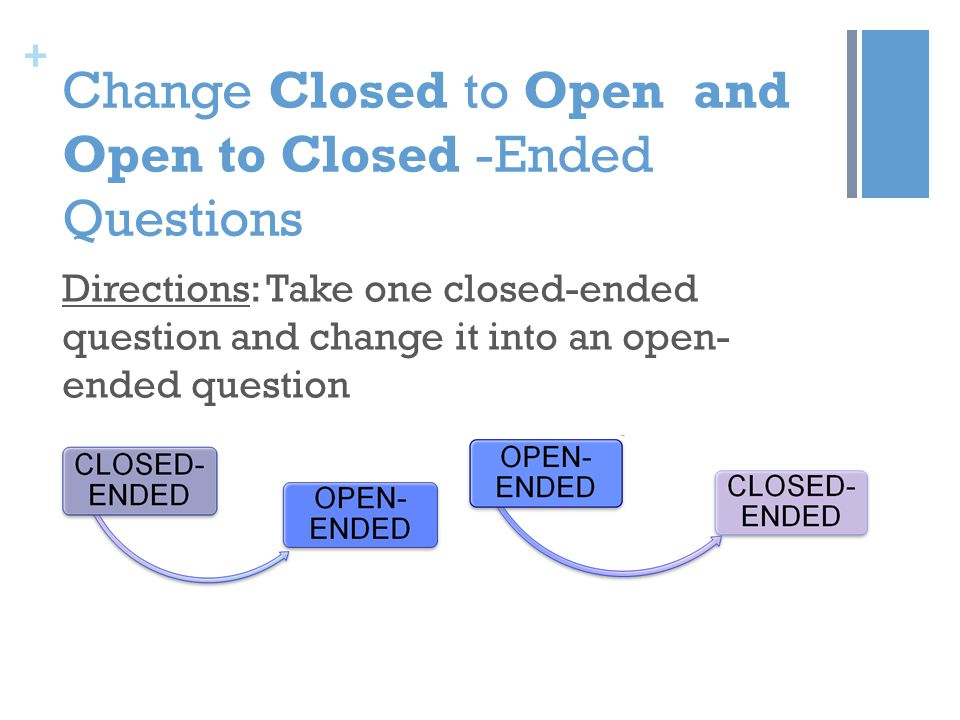 + Change Closed to Open and Open to Closed -Ended Questions Directions: Take one closed-ended question and change it into an open- ended question