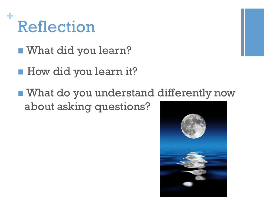 + Reflection What did you learn. How did you learn it.