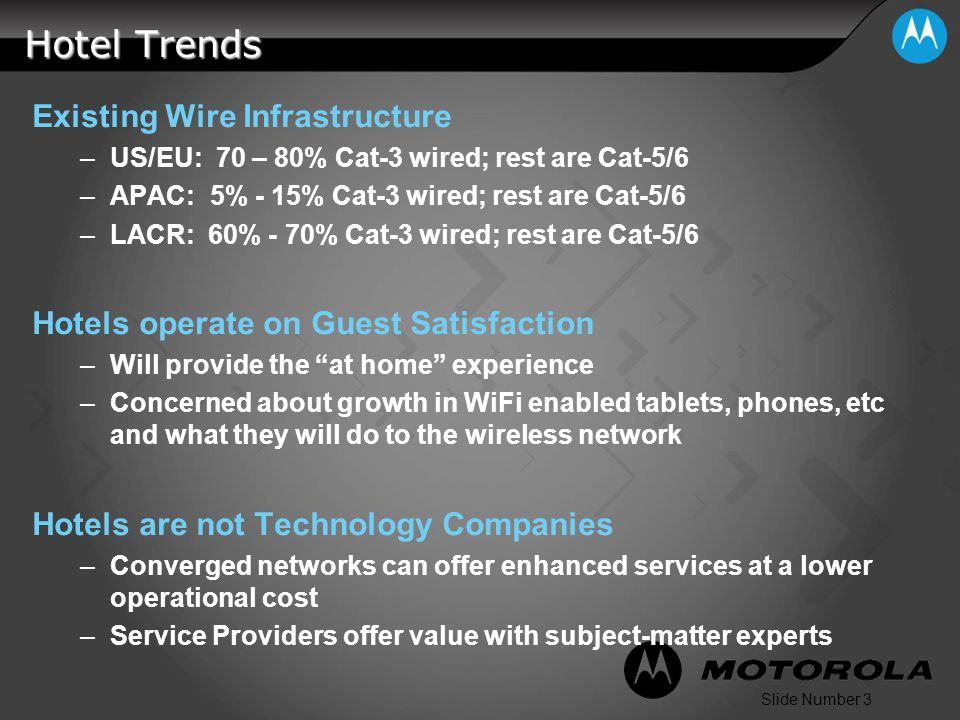 Slide Number 3 Hotel Trends Existing Wire Infrastructure –US/EU: 70 – 80% Cat-3 wired; rest are Cat-5/6 –APAC: 5% - 15% Cat-3 wired; rest are Cat-5/6