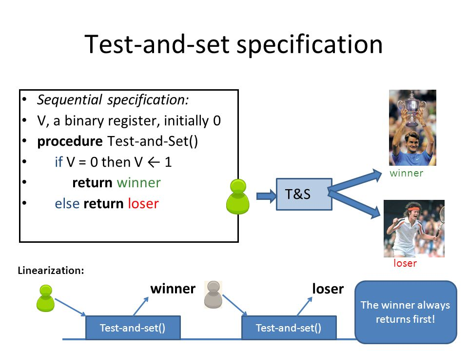 Test-and-set specification Sequential specification: V, a binary register, initially 0 procedure Test-and-Set() if V = 0 then V ← 1 return winner else