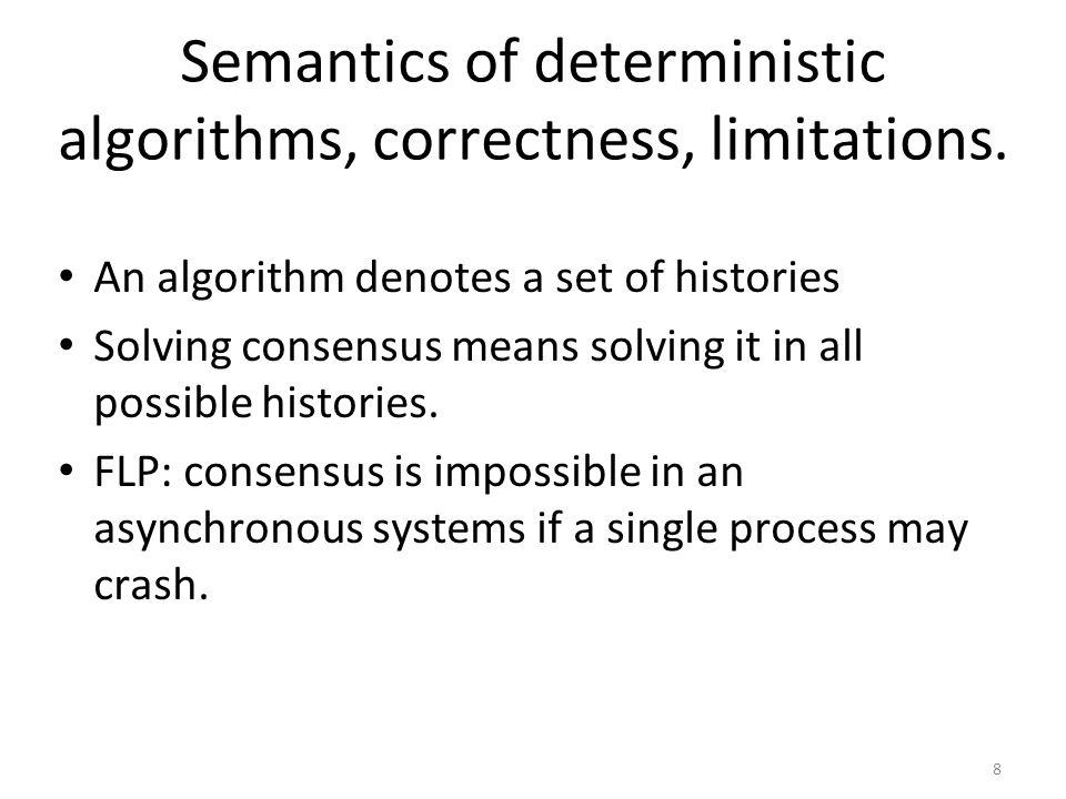8 Semantics of deterministic algorithms, correctness, limitations.
