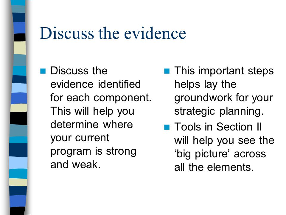 Discuss the evidence Discuss the evidence identified for each component. This will help you determine where your current program is strong and weak. T